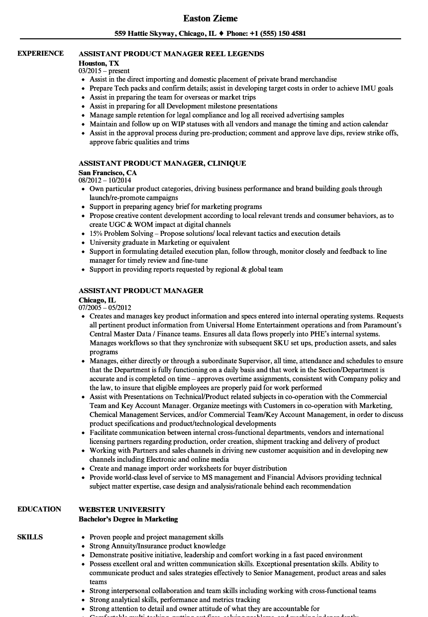 assistant product manager cv