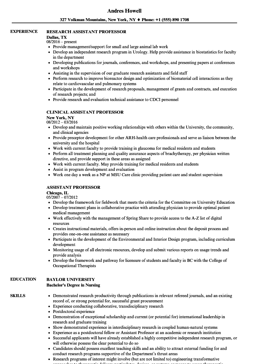 assistant professor resume