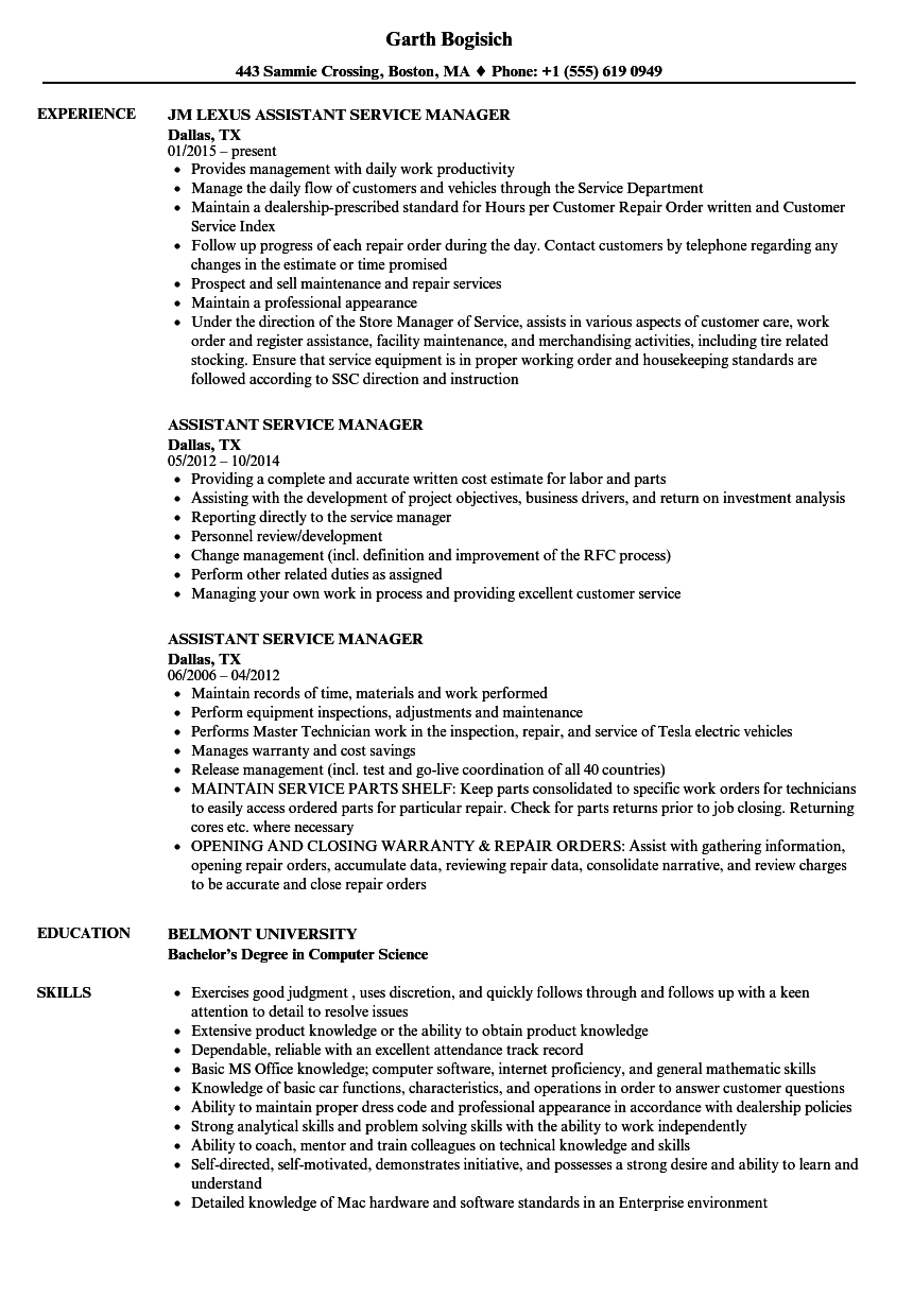 service and parts manager resume examples