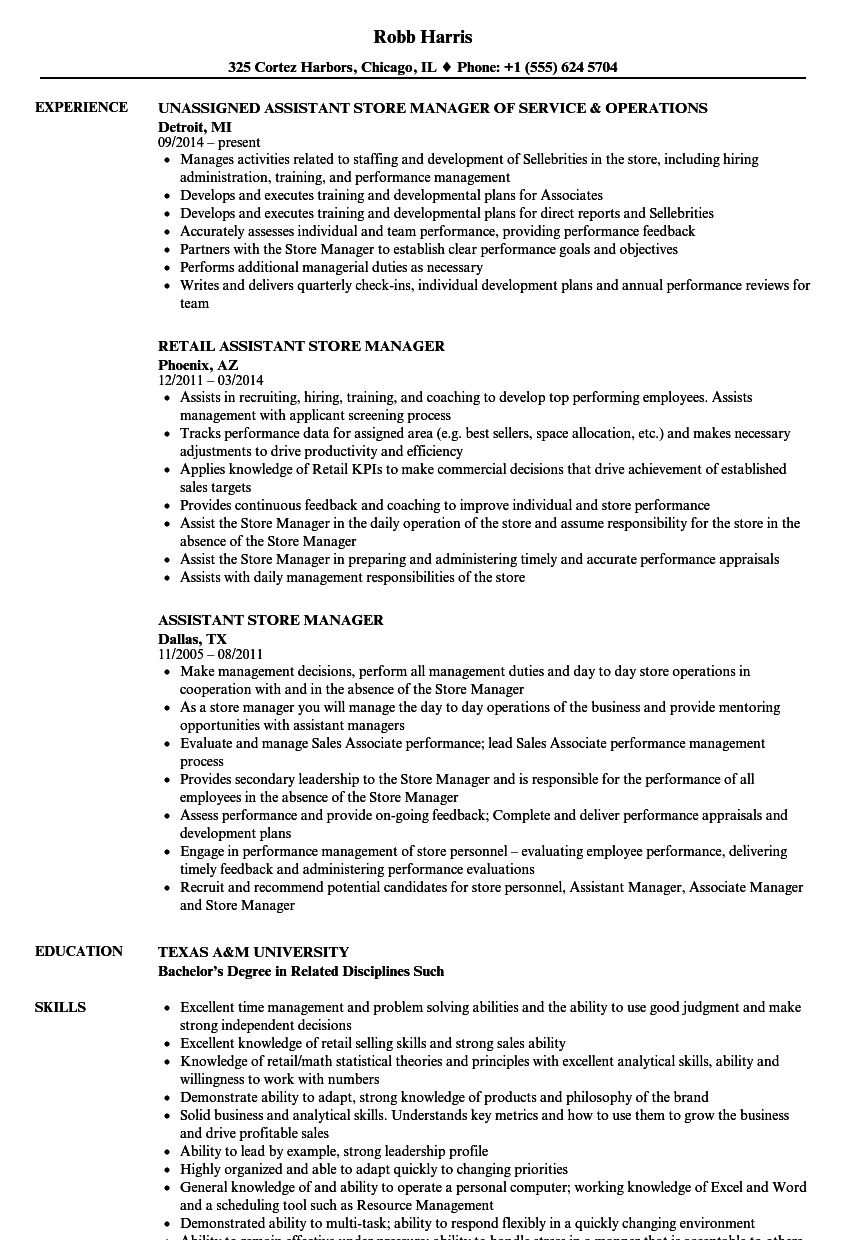 assistant store manager resume samples