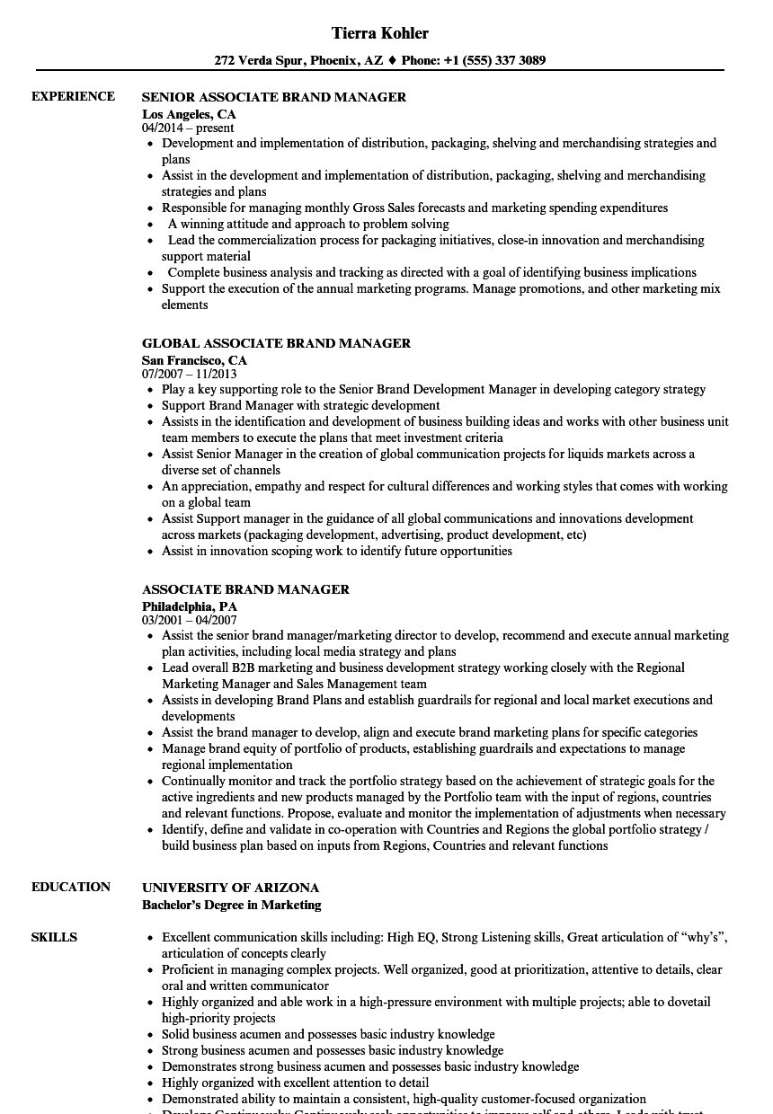 assistant brand manager cv example