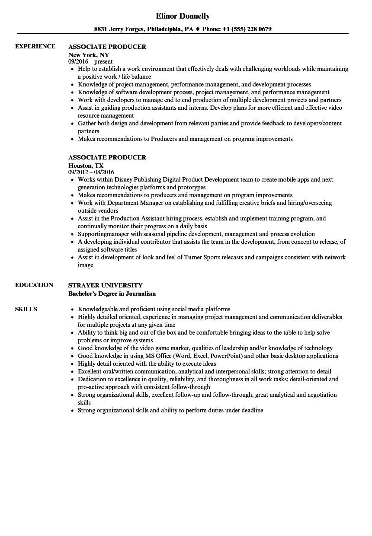 associate editor resume sample