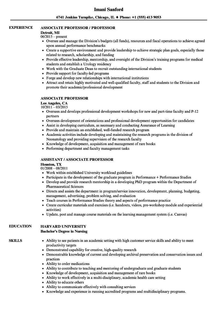 sample resume for associate professor position