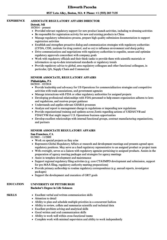 sample regulatory affairs resume