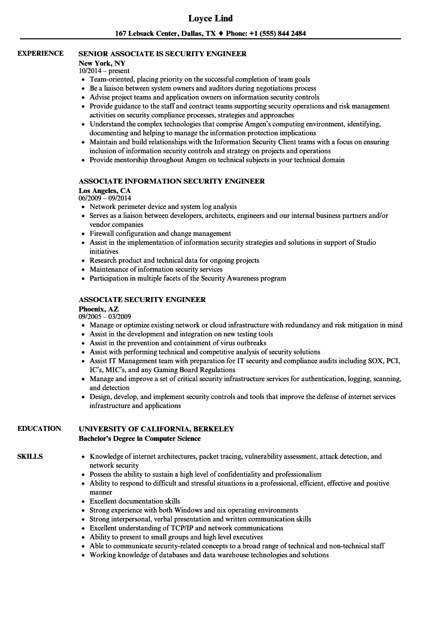 security associate resume samples