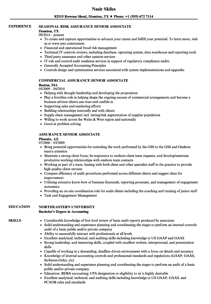 pwc technical manager sample resume