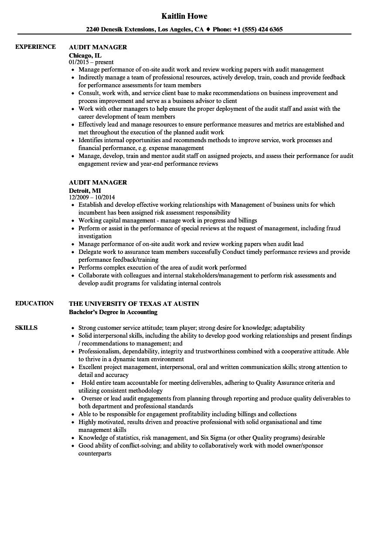 audit manager resume samples