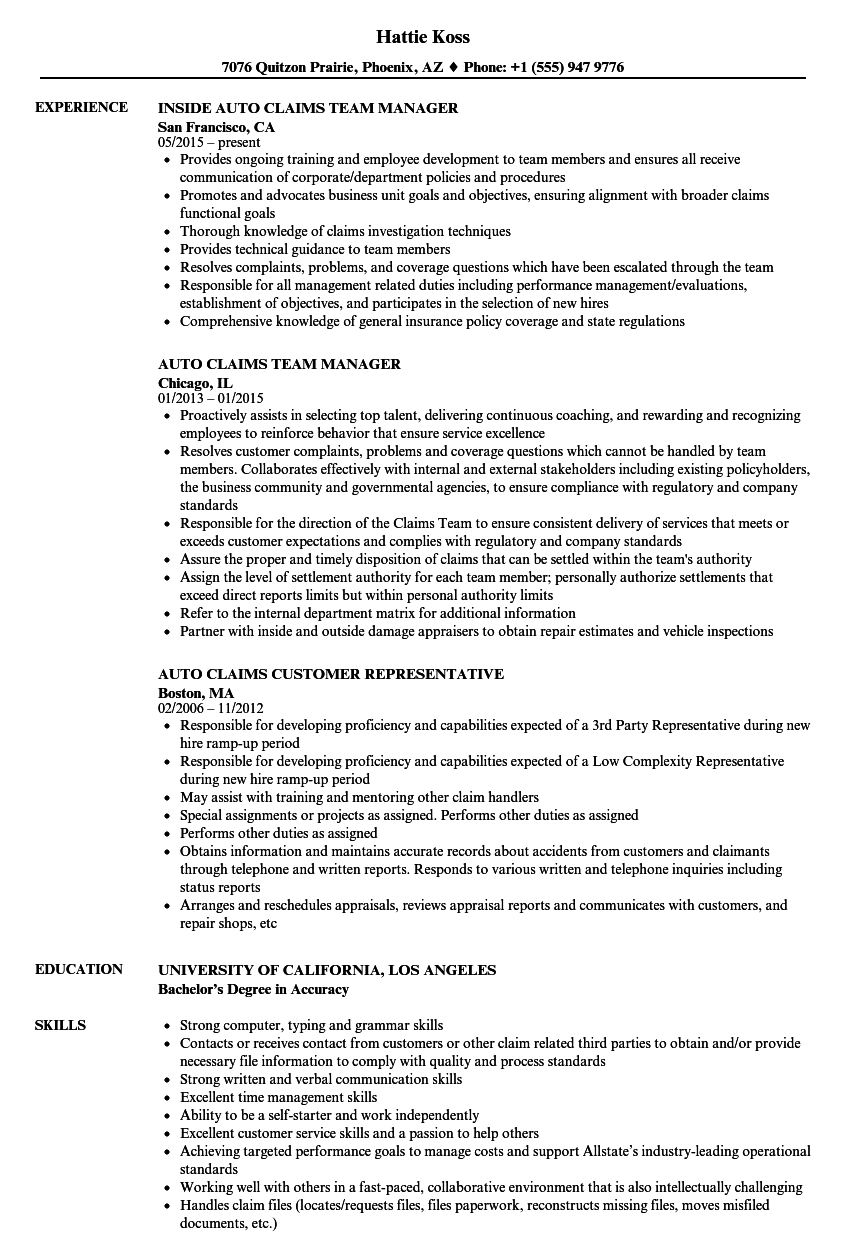 resume examples for claims manager