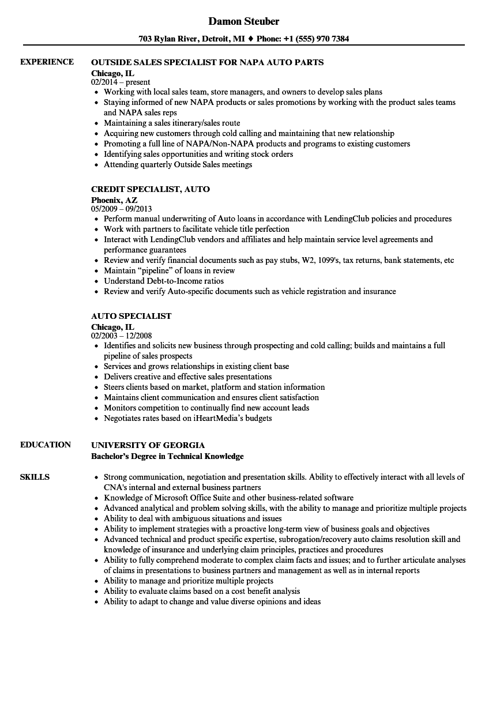 auto appraiser resume sample