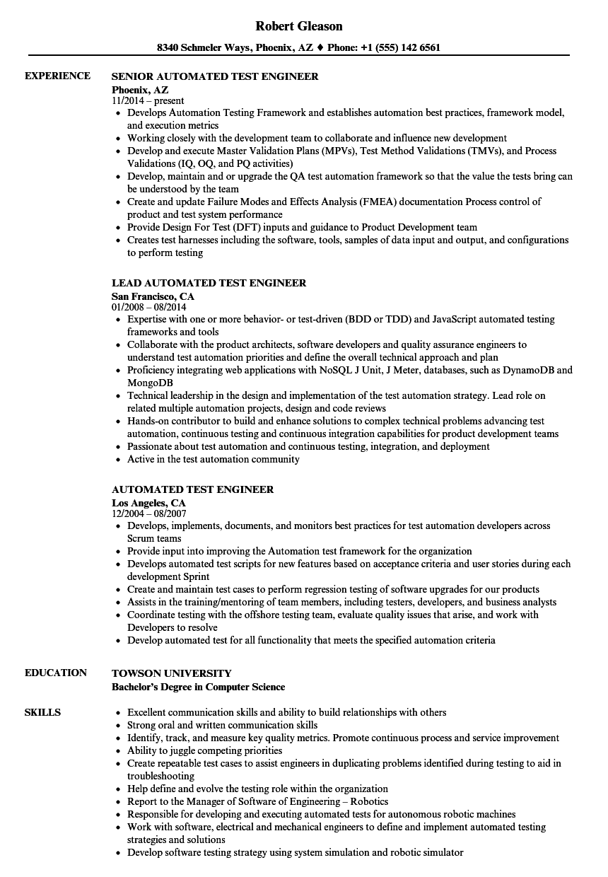 resume of software test engineer