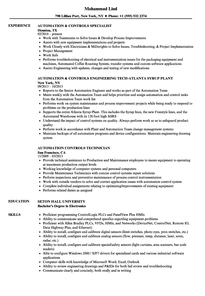 sample resume for building automation engineer
