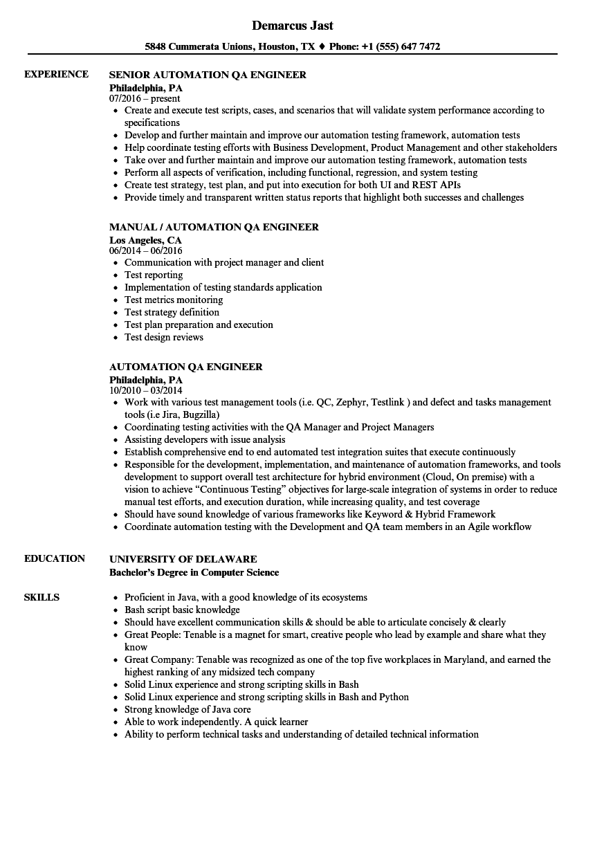 automation tester resume sample