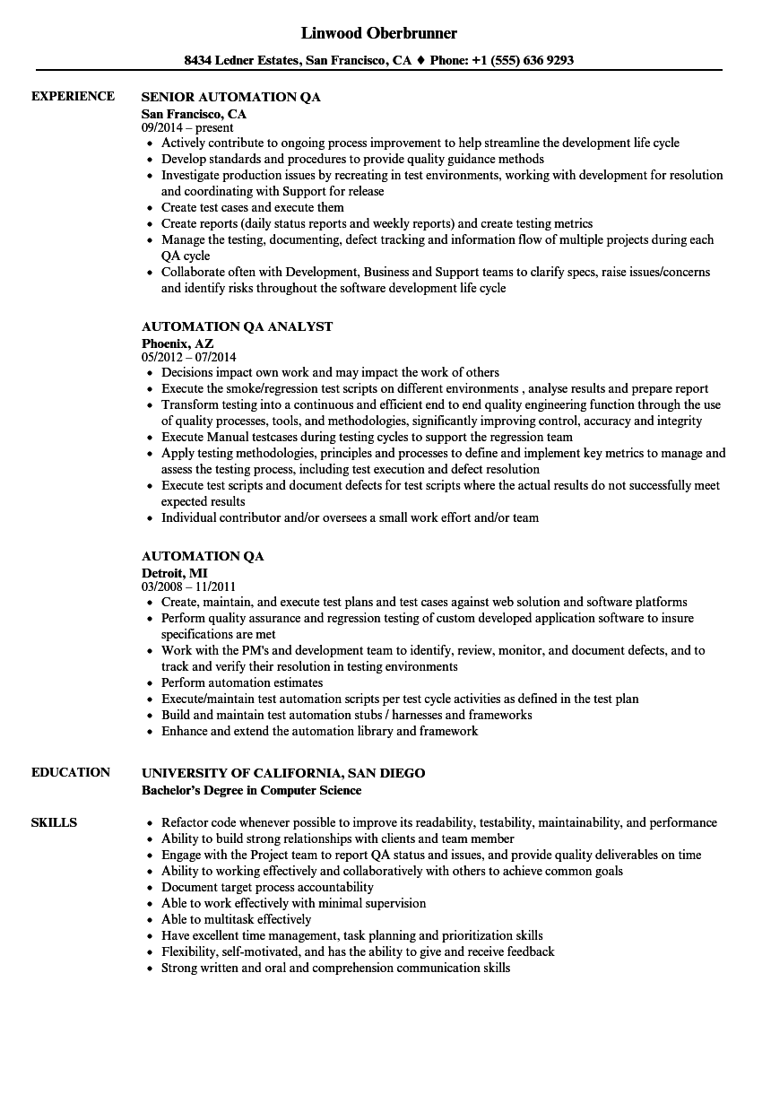 sample automation tester resume