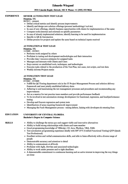 etl test manager sample resume