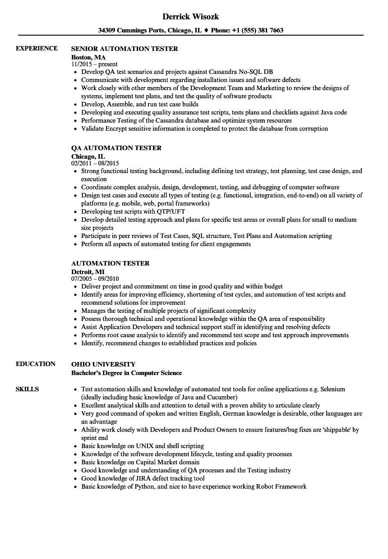 selenium automation testing resume sample