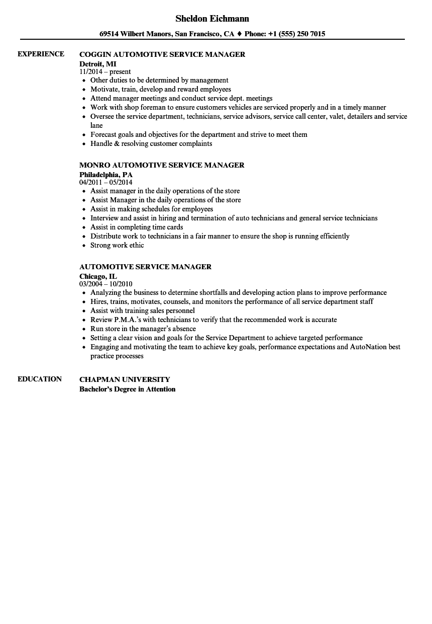 auto service manager resume examples