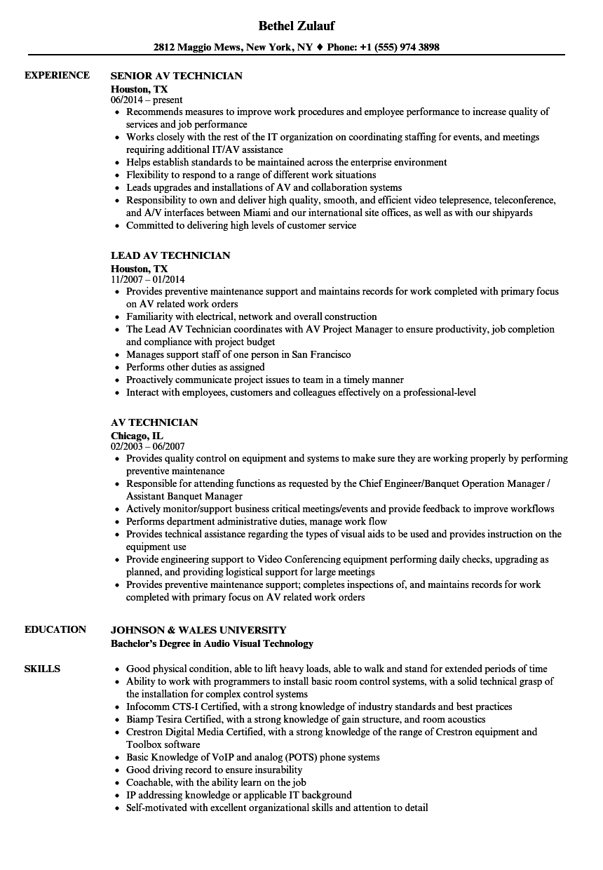 audio resume sample