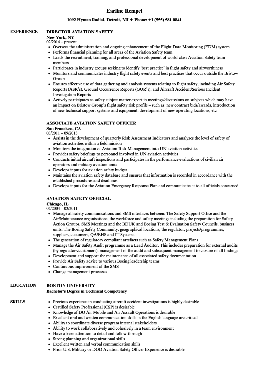 aviation management resume examples