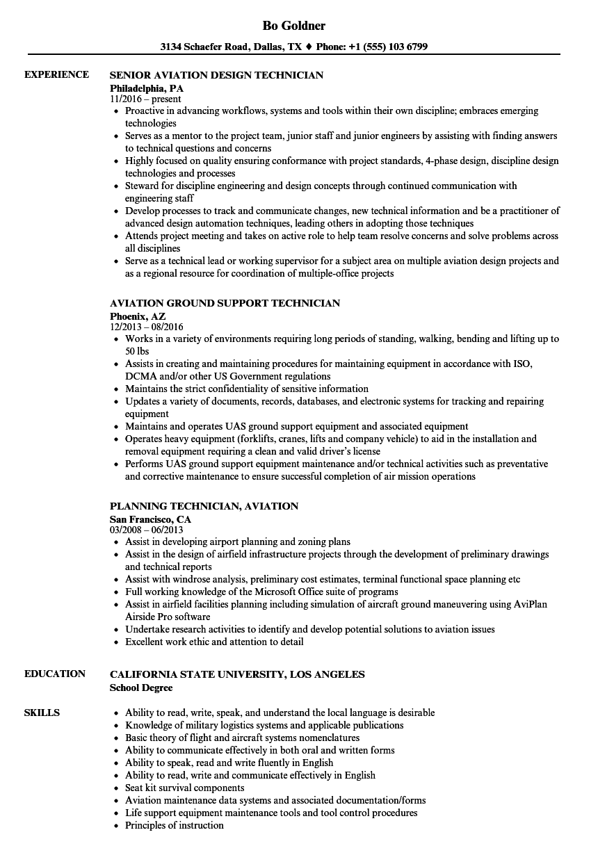 aviation technician resume examples