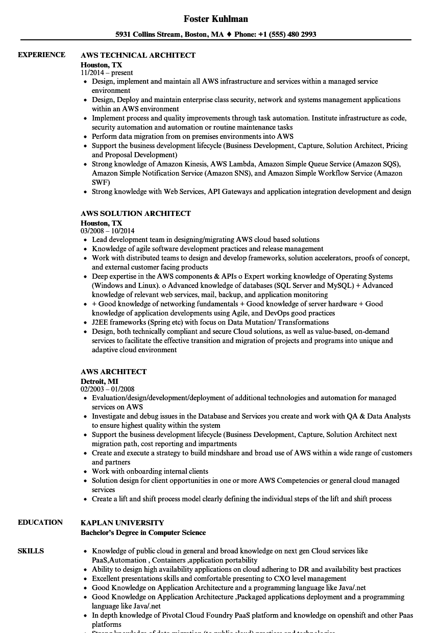 aws sample resume for 2 years experience