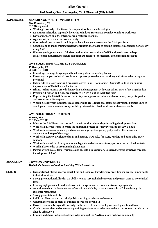 solution architect resume sample