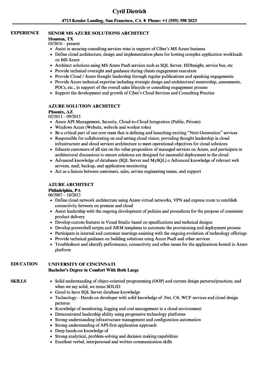 azure analyst sample resumes