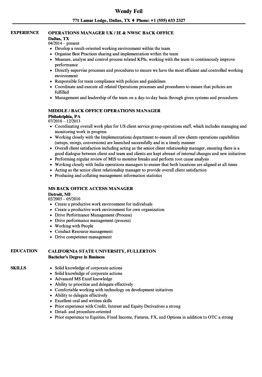 back office manager cv