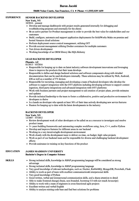 backend developer resume sample