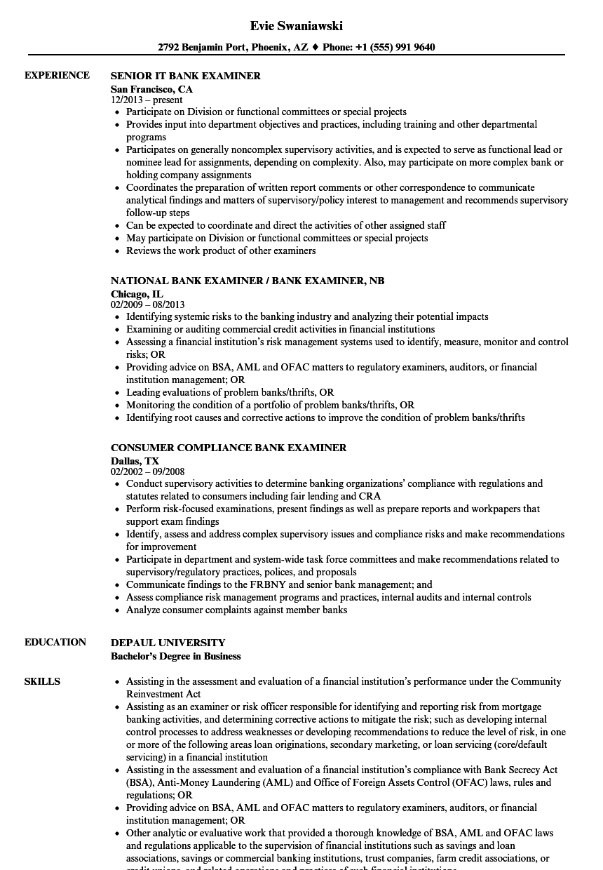 bank examiner resume examples