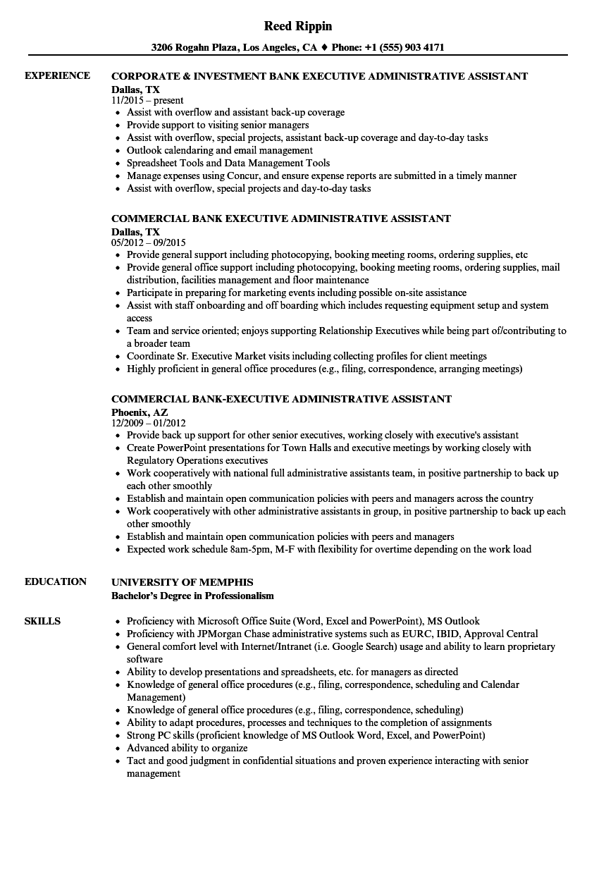 bank experience resume sample