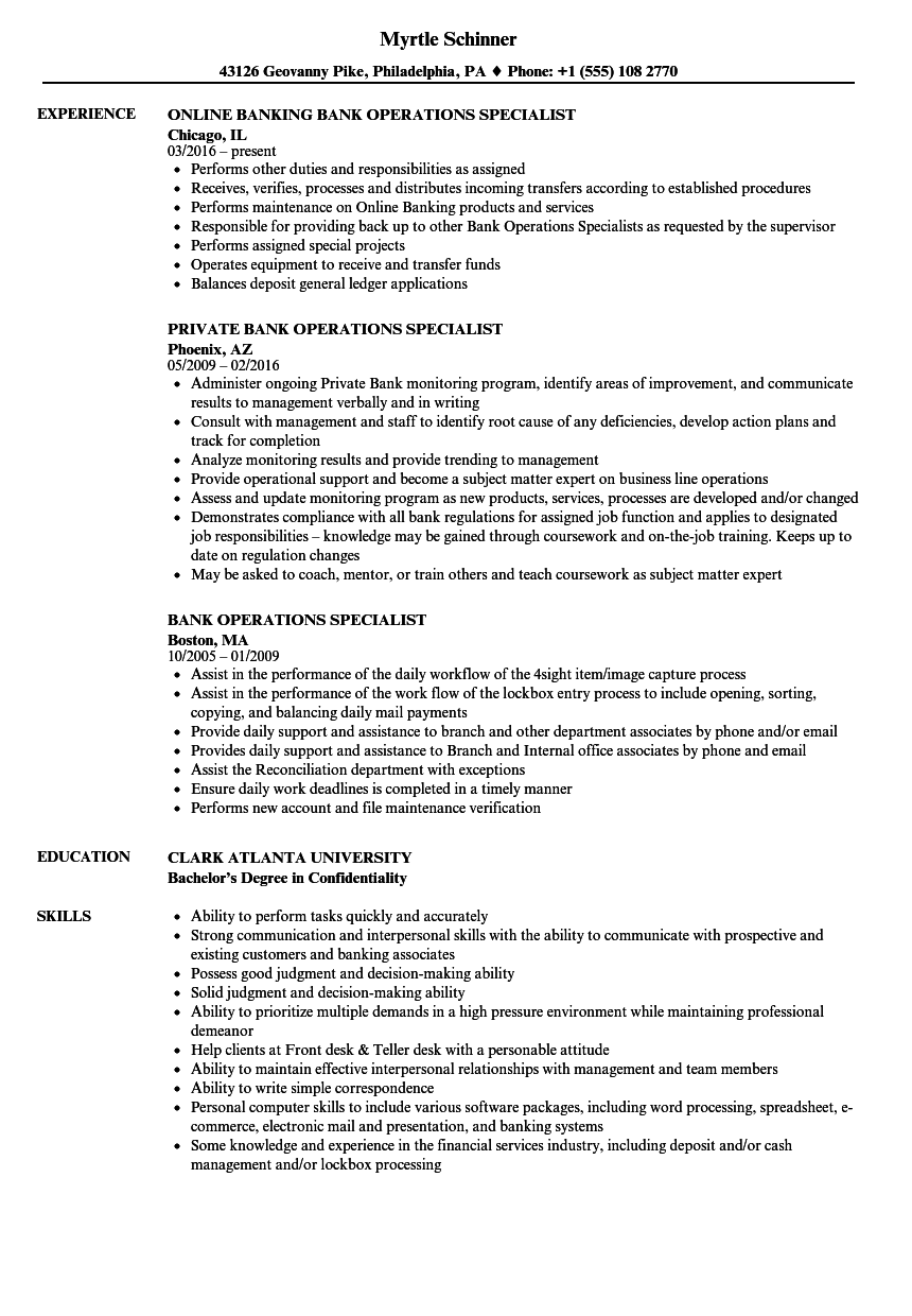 banking operations specialist resume sample