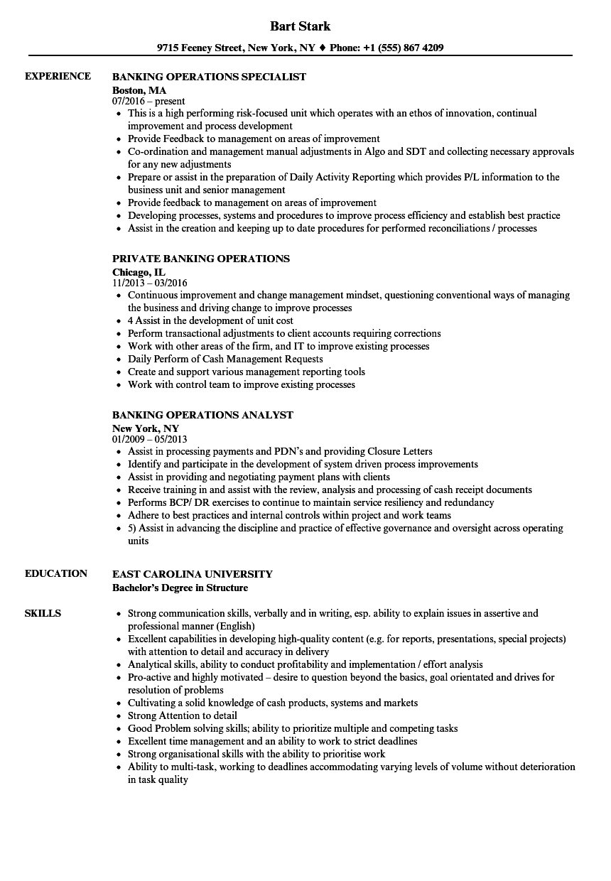 sample resume banking operations