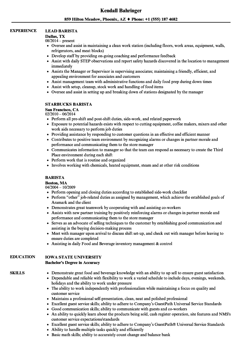 resume for barista sample