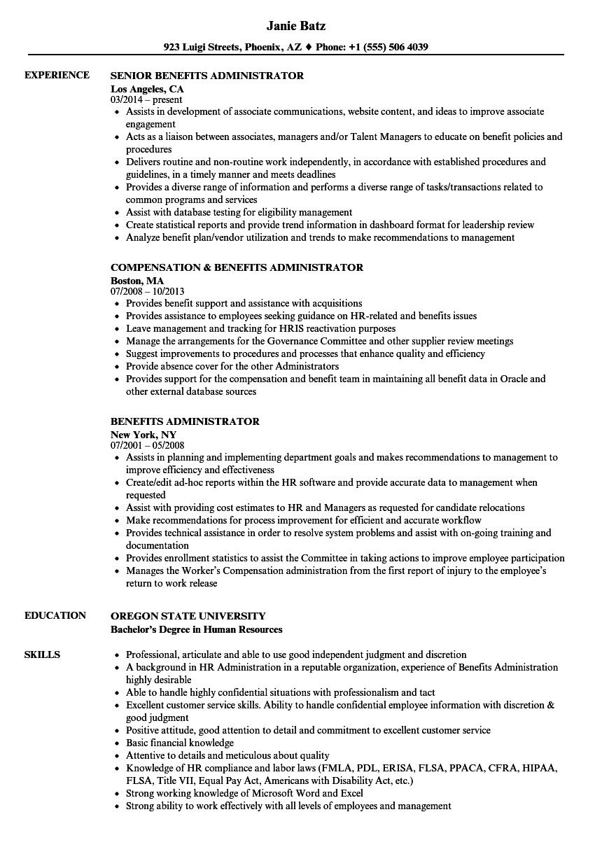 benefits administrator resume examples