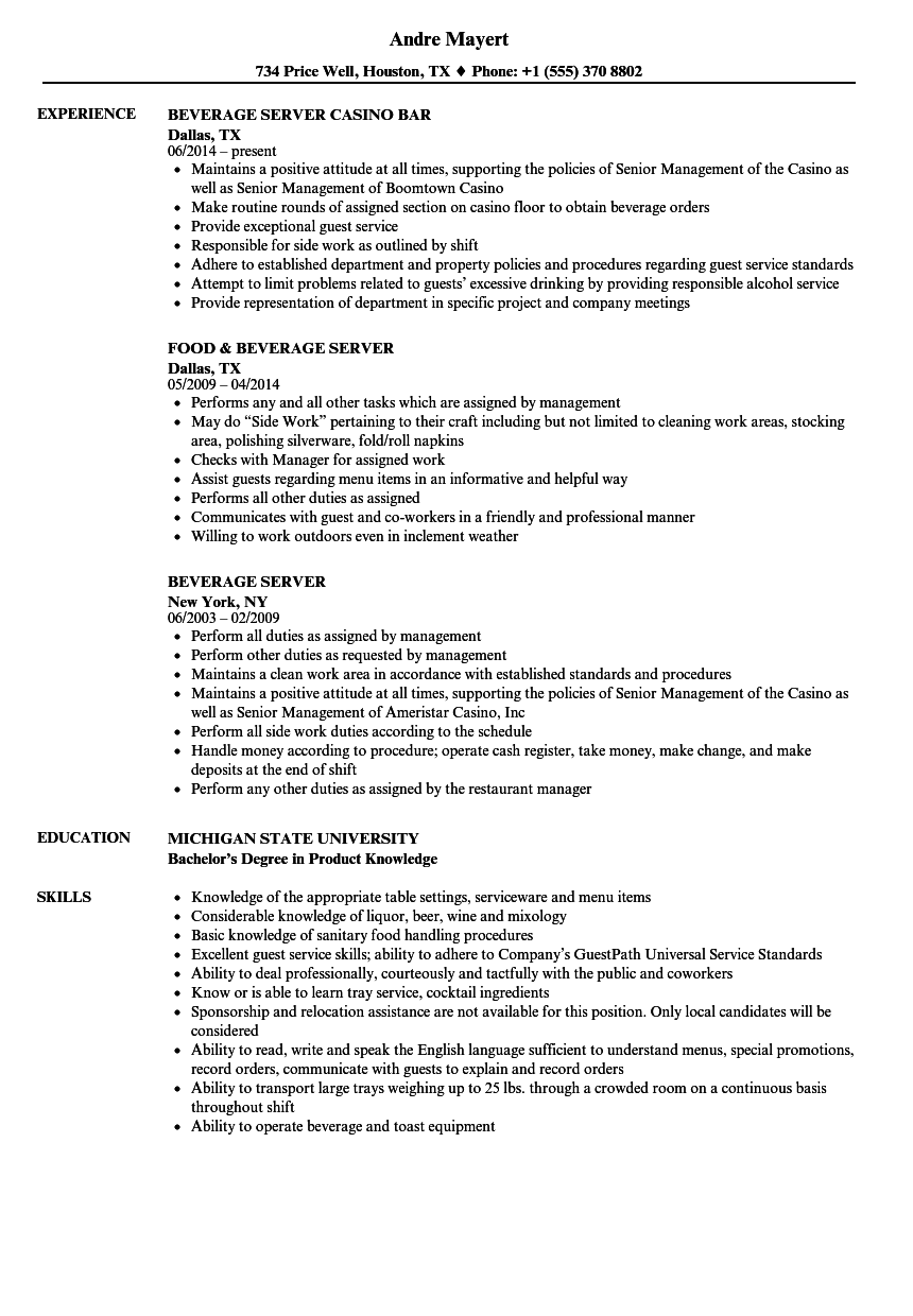 resume examples for catering server