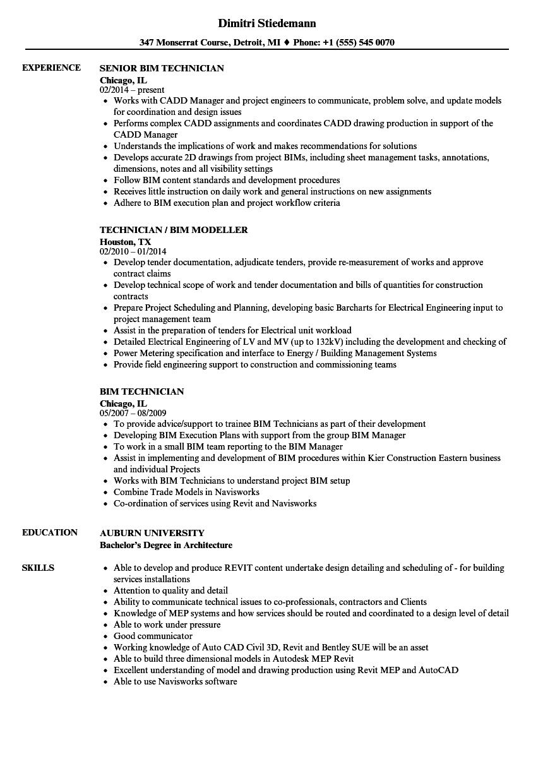 bim engineer resume example