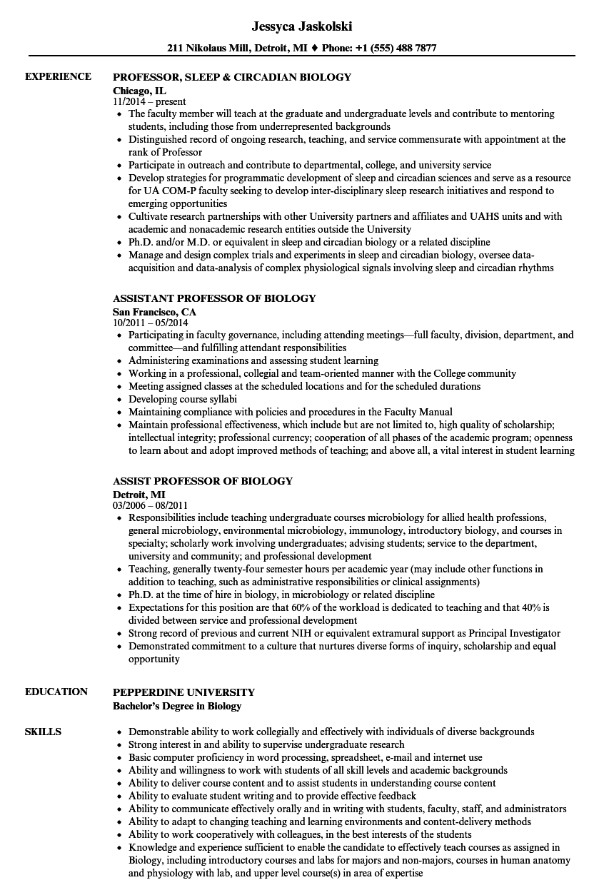resume faculty position sample
