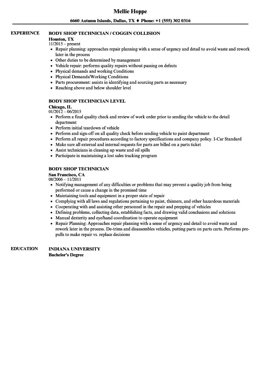autobody resume examples