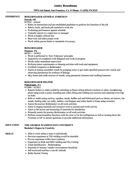 boiler plant operator resume sample