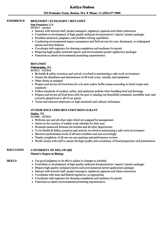 cooking sample resume