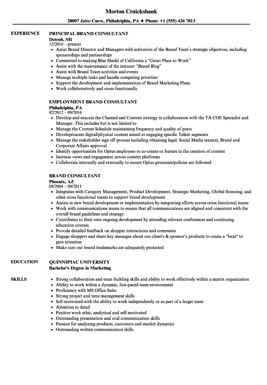 resume for brand consultant