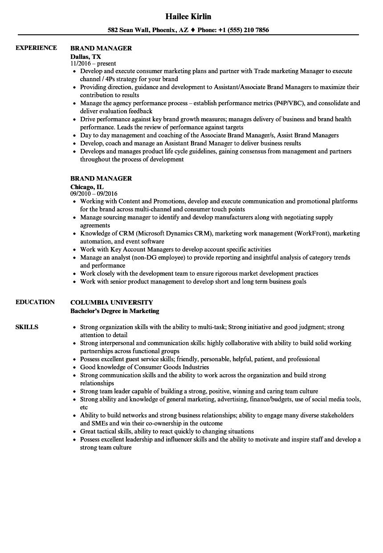 senior brand manager resume sample
