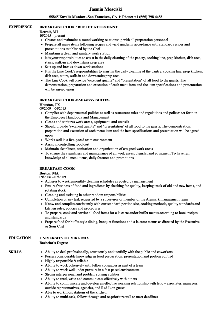 sample resume for cook assistant