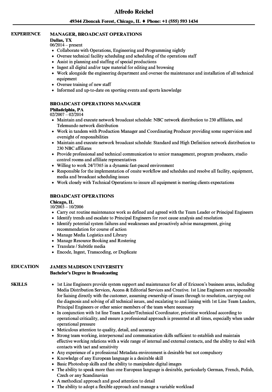 broadcast intern resume sample