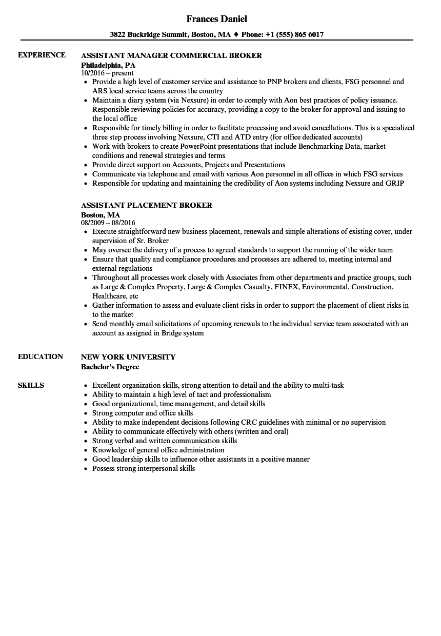 brokers assistant resume sample