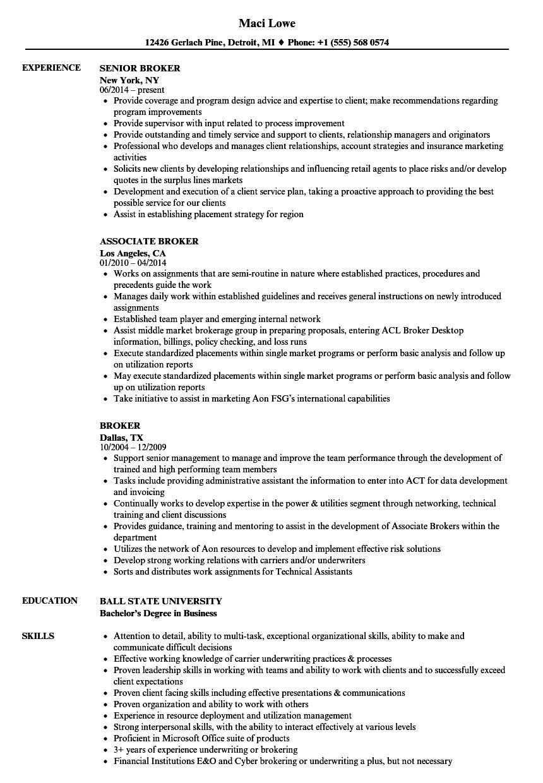 sample broker resume