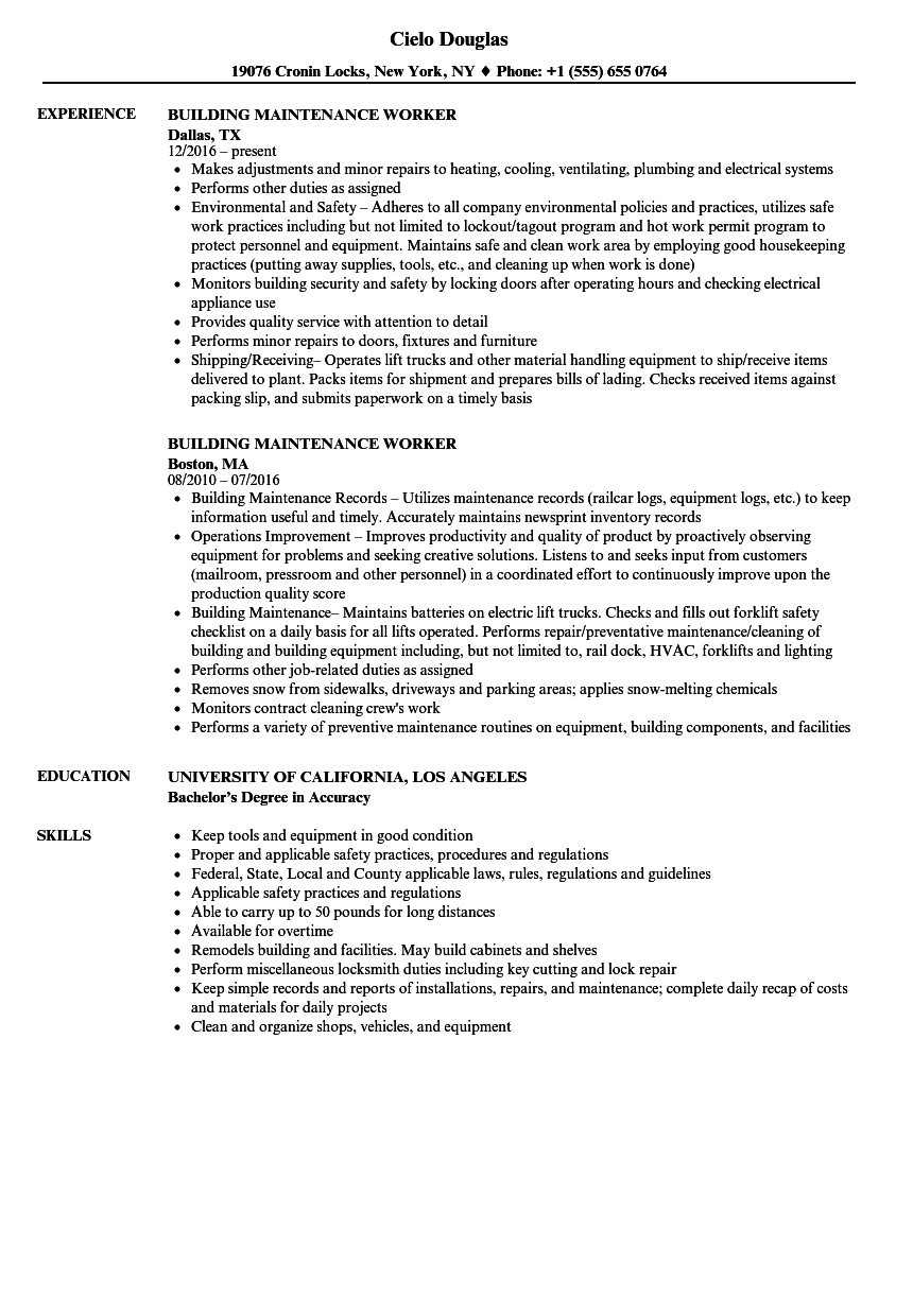 building resume samples