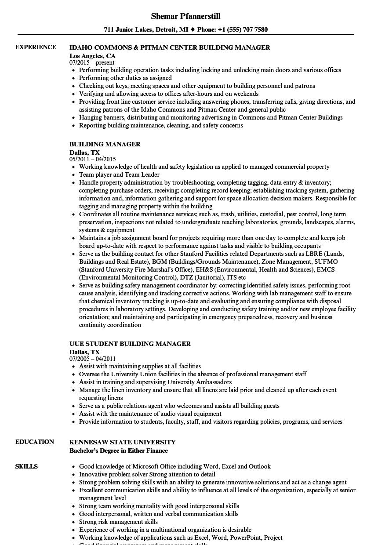 building operator resume sample
