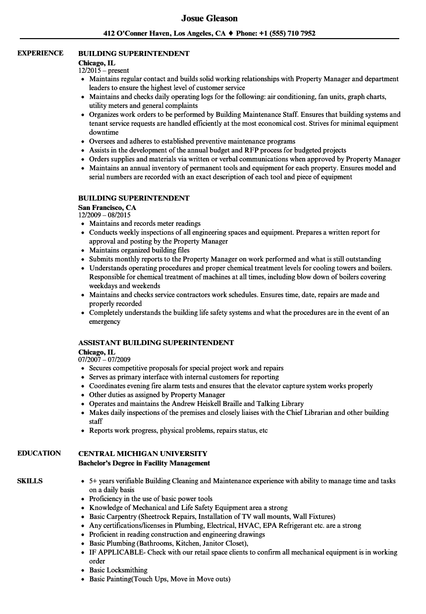 example of superintendent resume