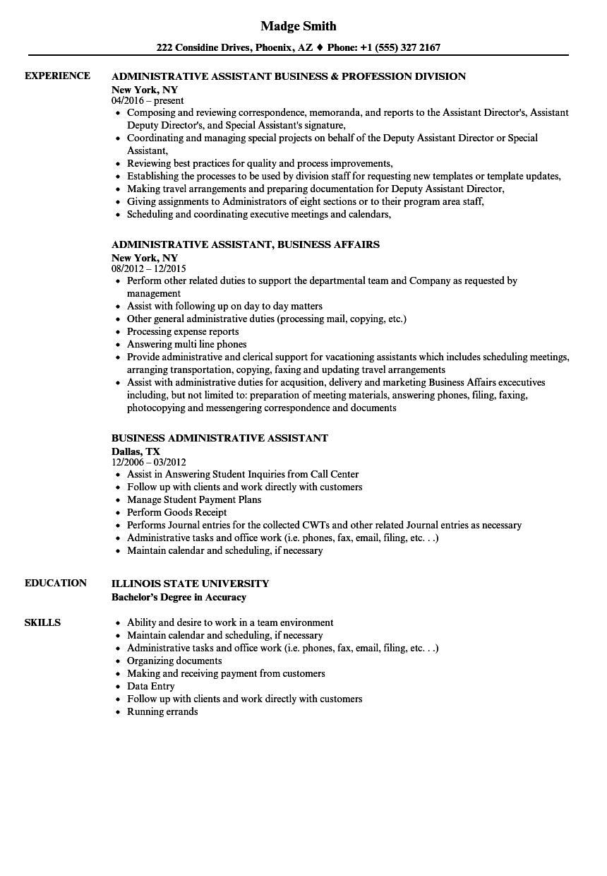 administrative assistant resume responsibilities
